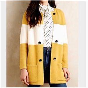 Anthro Mustard White Striped Button Front Cardigan